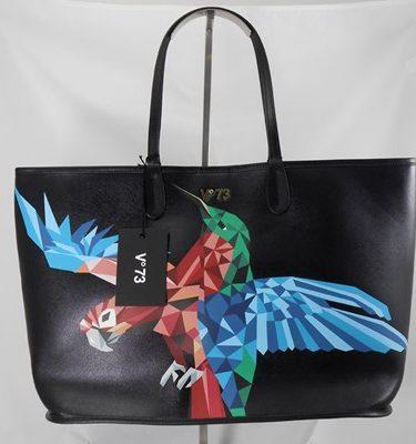 V°73 Shopper nero pappagallo