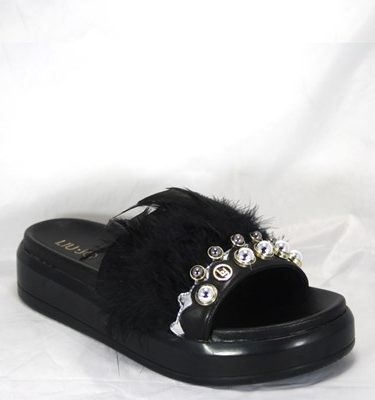 LIU JO SLIPPER FEATHERS BLACK